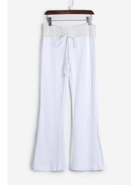 lady Lace Waist White Flare Pants - WHITE L Mobile
