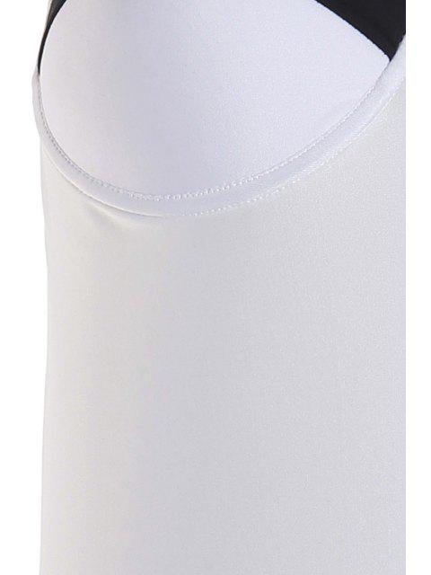 fancy Halter Neck Black White Splicing Swimwear - WHITE AND BLACK S Mobile