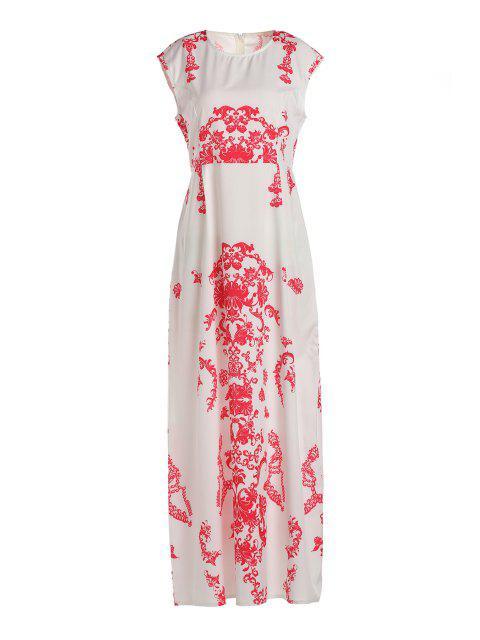 fashion Floral Print Floor-Length White Dress - WHITE XL Mobile