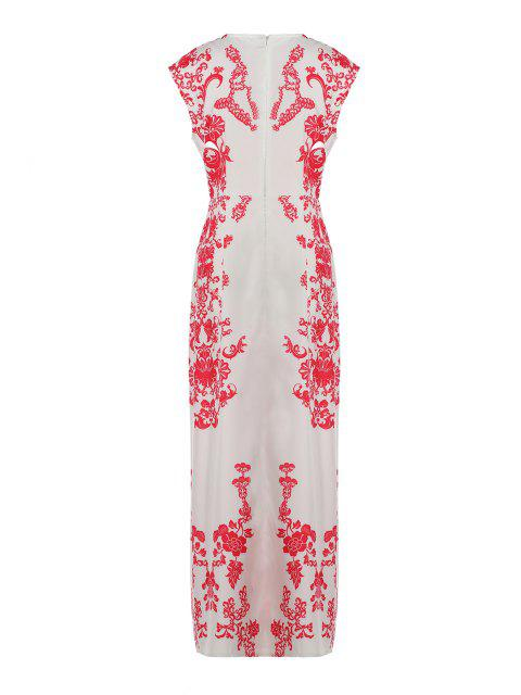 latest Floral Print Floor-Length White Dress - WHITE L Mobile