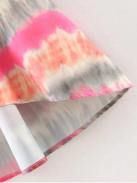 fancy Tie-Dyed Shirt Dress - COLORMIX S Mobile