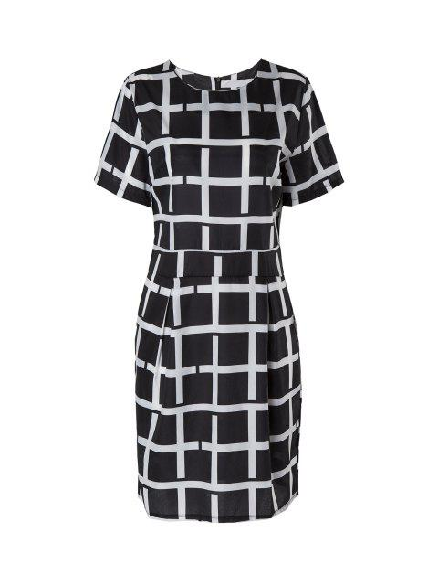 online Plaid Short Sleeve Dress - BLACK M Mobile