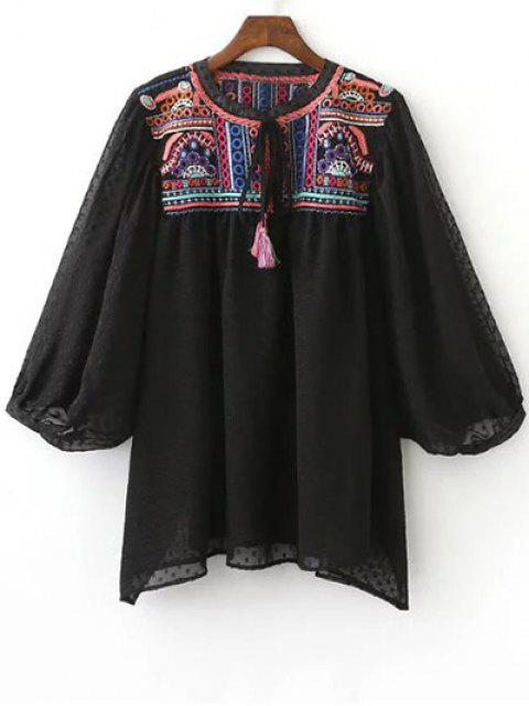 affordable Embroidered Plumetis Top - BLACK S Mobile