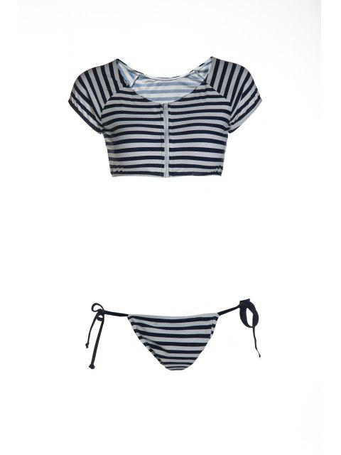 online Striped Scoop Neck Short Sleeve Bikini Set - BLUE AND WHITE L Mobile