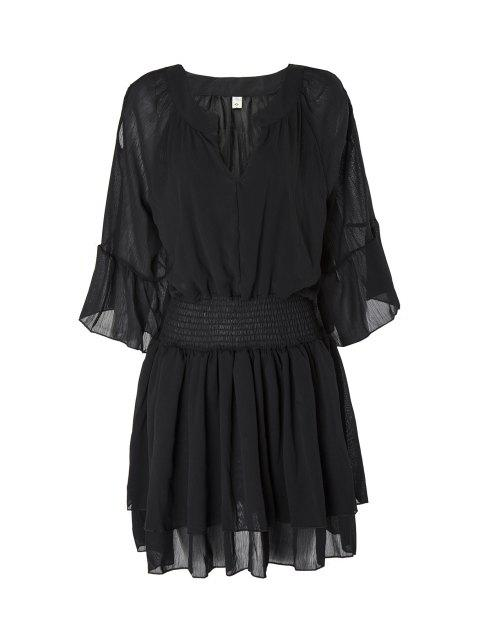 fancy Flare Sleeve Layered Plus Size Chiffon Dress -   Mobile