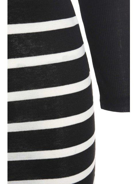 outfit Solid Color Long Sleeve Crop Top + Stripe Skirt - BLACK L Mobile