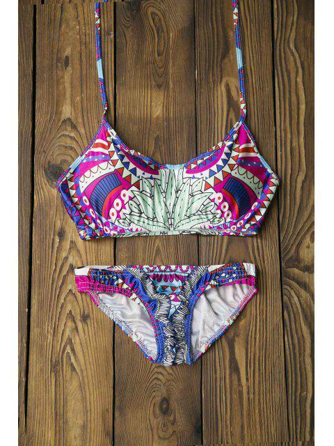 best Totem Print Spaghetti Strap Bikini Set - LIGHT GREEN M Mobile