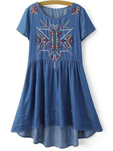 women's Ethnic Embroidery Round Neck Short Sleeve Dress - BLUE S Mobile