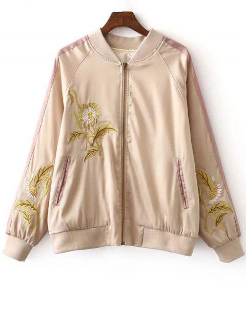 new Floral Embroidery Stand Neck Long Sleeves Jacket - COLORMIX M Mobile