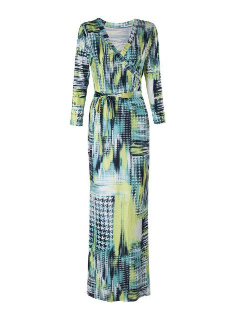 shops Houndstooth Print 3/4 Sleeve Maxi Dress - YELLOW M Mobile