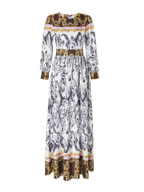 womens Abstract Printed Long Sleeve Maxi Dress - MULTICOLOR M Mobile
