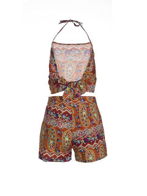 women Halter Backless Crop Top and Printed Shorts Suit - ORANGE M Mobile