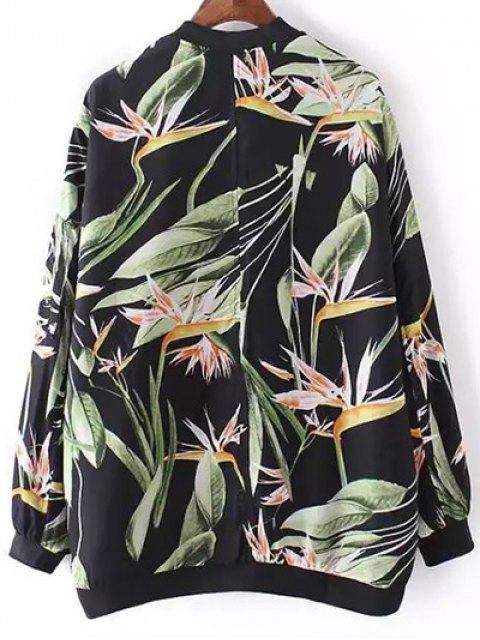 outfits Tropical Print Stand Neck Long Sleeve Jacket - BLACK M Mobile