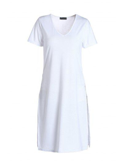 Side Slit Long T-Shirt - White M