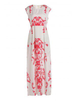 Floral Print Floor-Length White Dress - White L