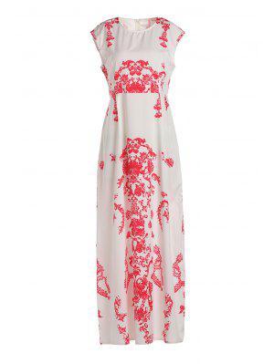 Blumendruck-Fußboden-Länge weißes Kleid