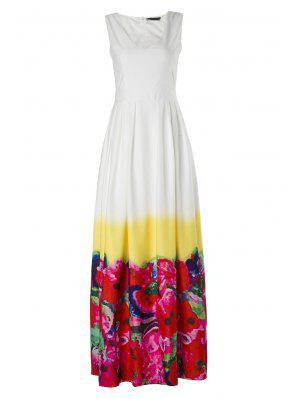 High-Waisted Floral Print Maxi Dress
