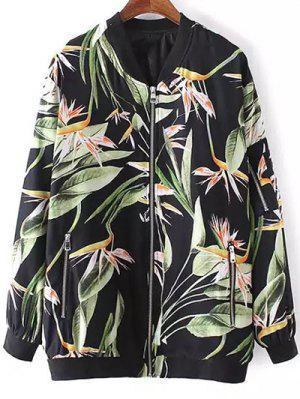Tropical Print Stand Neck Long Sleeve Jacket - Black M