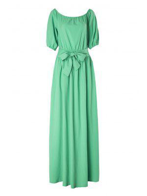 Slash Neck Green Half Sleeve Dress - Light Green Xl