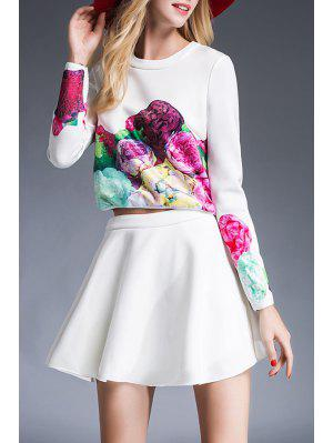Floral Print T-Shirt and High Waist Solid Color Skirt