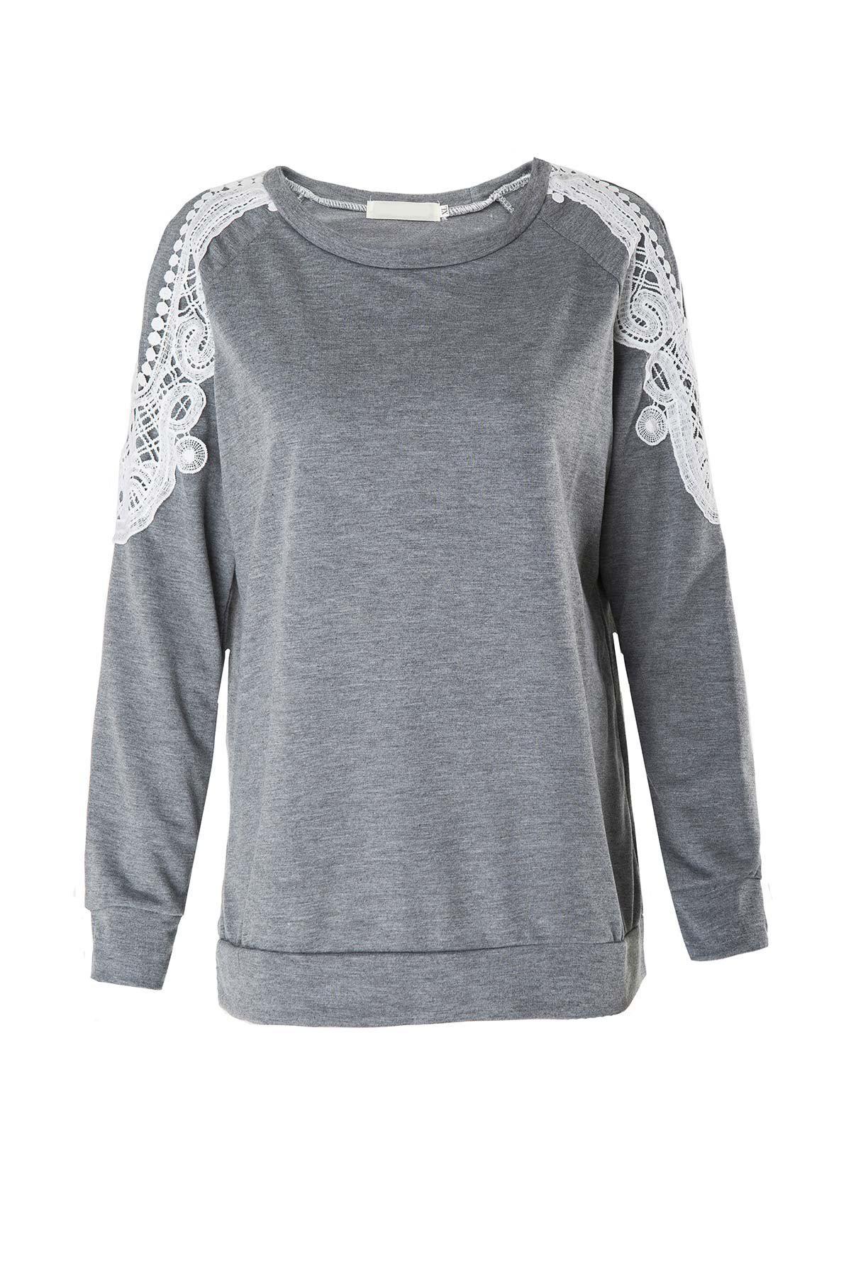 Pizzo Splicing Cavo Maniche Lunghe T-Shirt