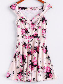 Floral Print Sleeveless Waisted A Line Dress - Off-white M