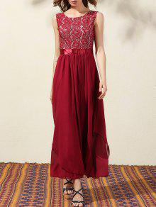 Lace Bodice Maxi Prom Dress - Wine Red S