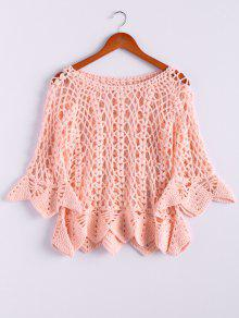 Solid Color Cut Out Round Neck Butterfly Sleeve Sweater - Pink