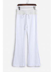 Lace Waist White Flare Pants - White L