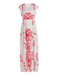 فستان طباعة الأزهار طول الطابق أبيض - أبيض Xl