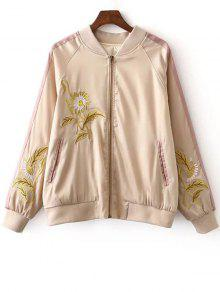 Floral Embroidery Stand Neck Long Sleeves Jacket - COLORMIX M