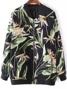 Tropical Print Stand Neck Long Sleeve Jacket - Black M