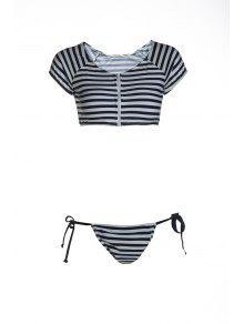 Striped Scoop Pescoço Manga Curta Bikini Set - Azul E Branco L