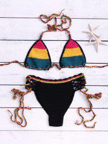 Ensemble De Bikini Croché Col Halter Couleur Contraste Avec Découpes - Jaune