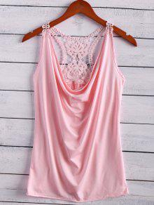 Lace Spliced Cowl Collar Tank Top - Pink S