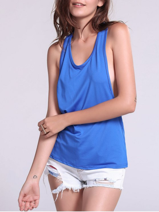 fancy Dropped Armhole Tank Top - SAPPHIRE BLUE S