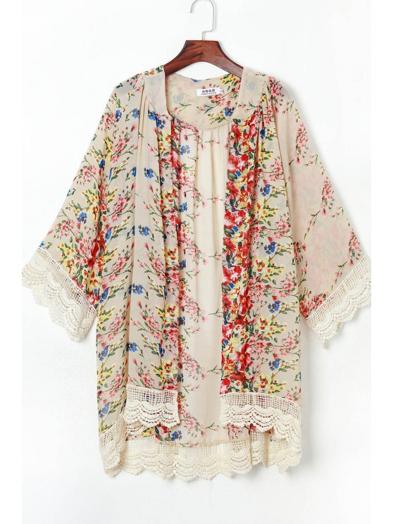 online Lace Spliced 3/4 Sleeve Kimono - COLORMIX M