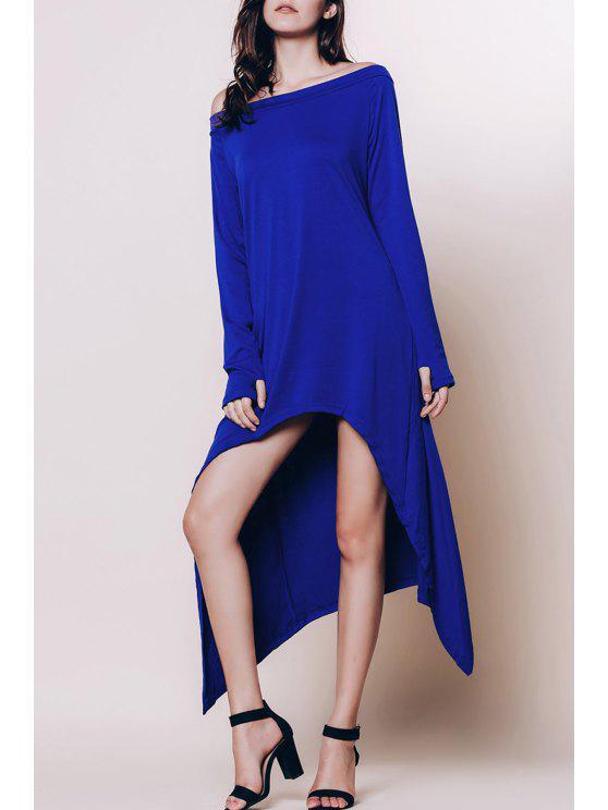 قبالة الكتف عالية منخفضة فستان ماكسي - الياقوت الأزرق 3XL
