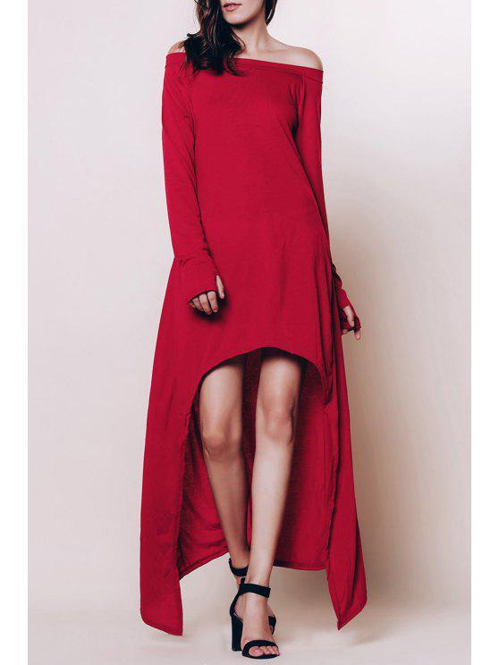 قبالة الكتف عالية منخفضة فستان ماكسي - نبيذ أحمر L