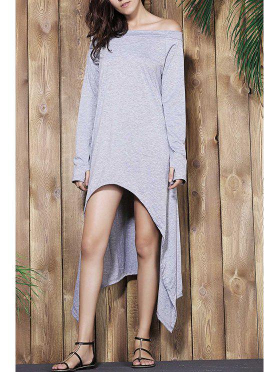 فستان عالية منخفضة تيشيرت - رمادي فاتح XL