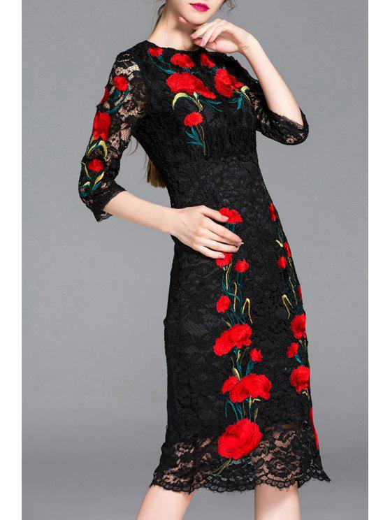 Flower Embroidered Lace Bodycon Dress