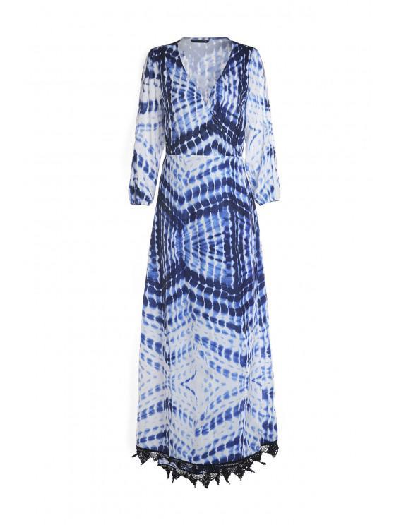 shop Dot and Line Print V Neck 3/4 Sleeve Maxi Dress - BLUE AND WHITE M