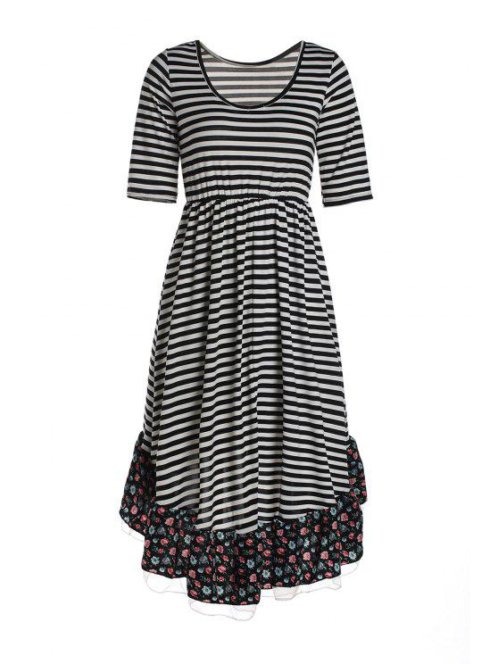 women's Striped Floral Print Flouncing Midi Dress - WHITE AND BLACK XL