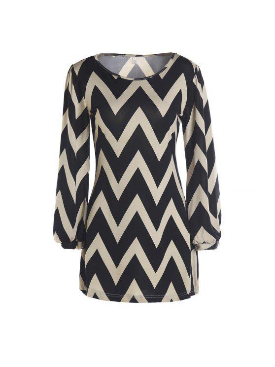 women's Zig Zag Long Sleeve Dress - KHAKI M