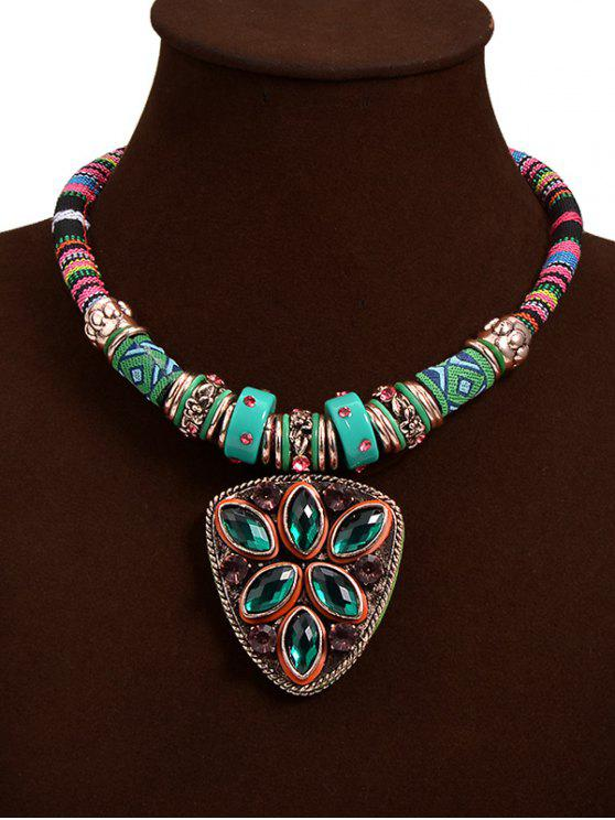 Collar colgante Escudo tribal Crystal Faux - Verde