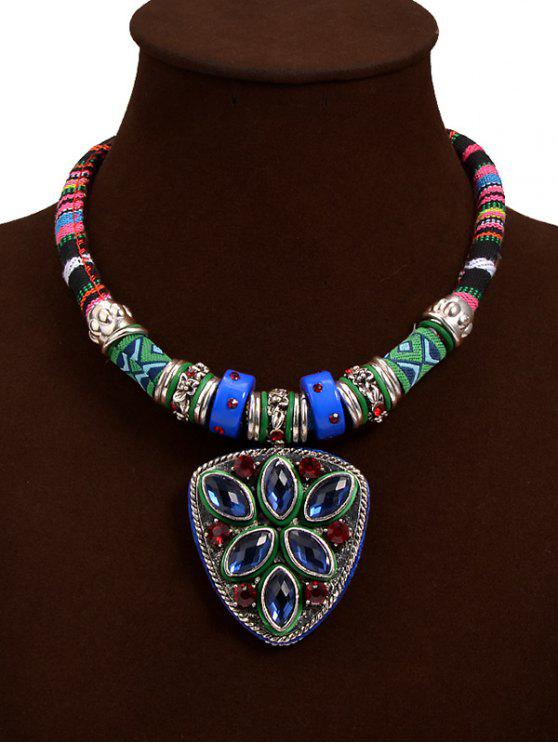 online Tribal Faux Crystal Shield Pendant Necklace - BLUE