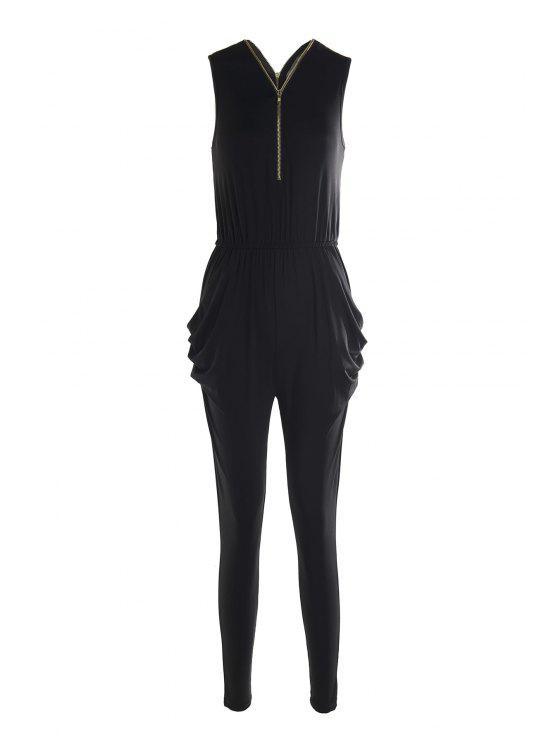 new Plunging Neck Zipper and Pocket Design Black Jumpsuit - BLACK S