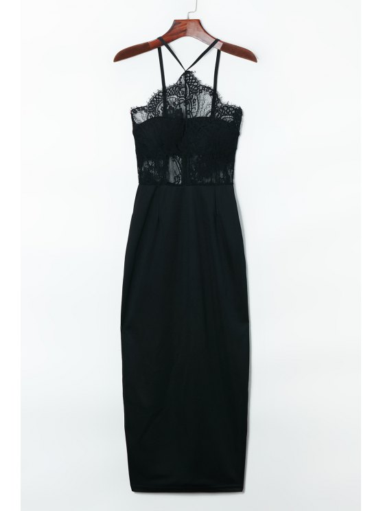 trendy Suspender Lace Splicing Sleeveless Backless Dress - BLACK ONE SIZE(FIT SIZE XS TO M)