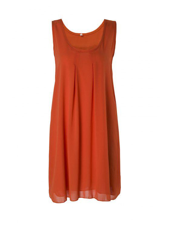 buy Sleeveless Solid Color Sundress - ORANGE M