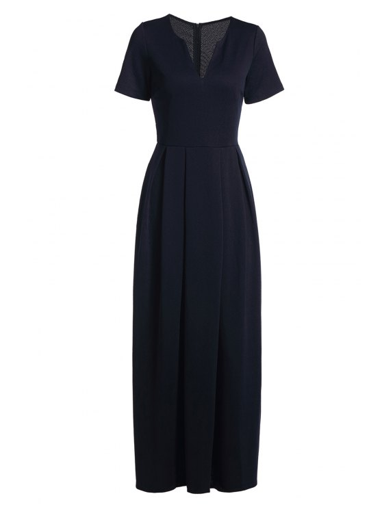 latest Short Sleeve Pure Color Maxi Dress - DEEP BLUE S